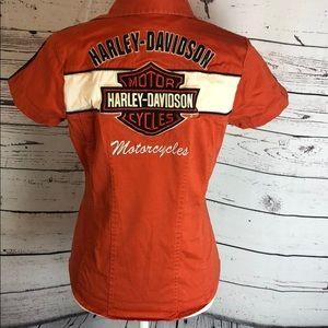 Harley-Davidson Tops - Harley Davidson Faded Zip-Up Shirt